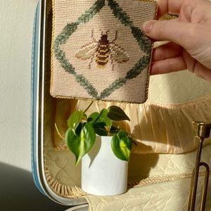 Set of 2 embroidered bee coasters boho